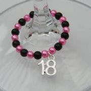 18th Birthday Wine Glass Charm - Full Bead Style